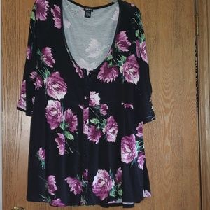 Black and floral babydoll top